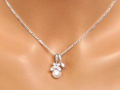 Pearl Drop Wedding Necklace. Cubic Zirconia Bridal Pendant. Bridal Necklace. Crystal Wedding Pendant. Bridesmaids Jewelry. FREE Shipping