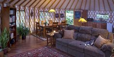 Yurt interior from Pacific Yurts Yurt Living, Tiny House Living, Cozy Living, Yurt Interior, Interior Design, Interior Ideas, Small Space Living, Living Spaces, Living Room