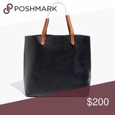 """🎁 Madewell Transport Tote in True Black The perfect everyday tote in beautiful veg tanned leather that will last for years and gets better with age. Because it's a natural material, there are variations in the leather. These are not considered flaws; they're part of what makes each bag unique. Can be treated with a waterproofing conditioner prior to shipping, upon request.  Approximately 14"""" x 14"""" x 6""""  100% leather   ❌ Sorry, no trades. Madewell Bags Totes"""