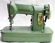 1958 green Singer 185 from Scotland.  A 3/4 size machine, but you would not know it by its weight--it is metal and it is heavy.