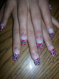 Blue white red french tip rhinestones rebel flag designs art