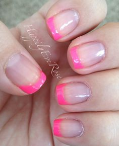 Hot neon pink nail French tips using sinful colors and seche vite such a cute and easy DIY nail manicure Pink Tip Nails, Pink French Manicure, Pink Manicure, French Tip Nails, Diy Nails, Nail Nail, French Manicures, Nail French, Nail Polish
