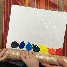 et's roll over the rainbow paint with a rolling pin and see what we can create! Toddler Art, Toddler Crafts, Crafts For Kids, Toddler Slide, Diy Crafts, Kindergarten Art, Preschool Crafts, Toddler Activities, Preschool Activities