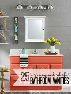 Red Bathroom Vanity Cabinets Bathroom Vanity In Red, Salvage Bathroom Vanity Cabinets is free HD Wallpaper. Thanks for you visiting Red Bath. Coral Bathroom, Silver Bathroom, Bathroom Colors, Colorful Bathroom, Neutral Bathroom, Parisian Bathroom, Bathroom Ideas, Bathroom Vanity Makeover, Bathroom Vanity Cabinets