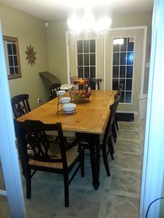 Read all about our Rustic Kitchen Table Refinish project where we used stain, paint, and finish to revive a used kitchen table. Dining Room Sets, Dining Room Furniture, Dining Table, Rustic Kitchen Tables, Oak Cupboard, Modern Drawers, Wooden Table Top, Seat Pads
