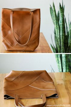 vegetable tanned leather herringbone tote