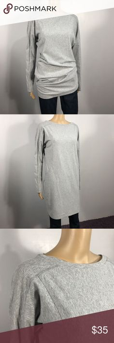 "Gray Athleta sweatshirt dress sz M I love this so much, but it is just not my size!!  Adorable Athleta Sweatshirt which can be worn long as a dress or bunched as an oversized Sweatshirt.  Very comfy, only worn a handful of times.  Great condition, no stains or tears.  Bust is approx 42"" and it is 34"" long.  It is about 19"" across the hip section while lying flat and it is stretchy Athleta Tops Sweatshirts & Hoodies"