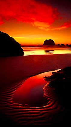 Haystack Rock at Cannon Beach on the north coast of Oregon. Oregon is the most beautiful place. Beautiful World, Beautiful Places, Beautiful Pictures, Wonderful Places, All Nature, Amazing Nature, Amazing Sunsets, Cannon Beach, Beautiful Sunrise