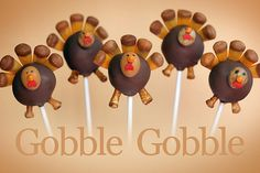 gobble! gobble!  on over to Bakerella.com to get all the details including some great pics of what you'll need for this little project.