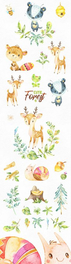This cute Forest animals 4 set includes deer, badger, beaver, floral and more. It is just what you needed for the perfect invitations, craft projects, paper products, party decorations, printable, greetings cards, posters, stationery, scrapbooking, stickers, t-shirts, baby clothes, web