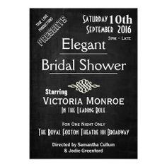 Vintage Playbill Movie Chalkboard Bridal Shower Invitations