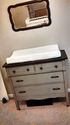 Neutral and Calm Baby Boy Nursery Antique Chest Painted in Chalk Paint Baby Nursery Furniture, Baby Nursery Decor, Girl Nursery, Project Nursery, Children Furniture, Nursery Ideas, Distressed Furniture Painting, White Furniture, Painted Furniture