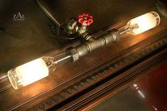 Vanity Lamp. Picture light. Beer bottles, Plumbing pipe & fittings. Vanity light. Wall lamp. Bathroom Vanity Lighting Fixture
