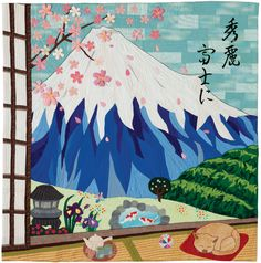 "To the Beautiful Mount Fuji, 76"" x 76"", by the home economics club of Haibara High School of Shizuoka-ken, Japan.  International Quilt Week Yokohama - 2014. Featured at Quilters Newsletter."