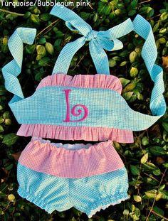 Gingham seersucker 2 piece toddler girl ruffle by waidcreations