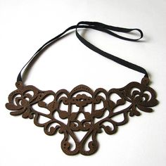 leather laser cut necklace