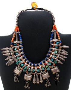 Nepalese necklace      Nepalese Necklace, Old silver with coral, turquoise and lapis beads