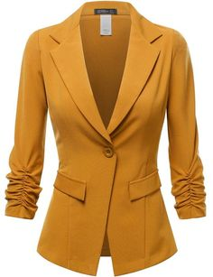 FPT Womens 3/4 Cinched Sleeve Single Button Boyfriend Blazer MUSTARD LARGE