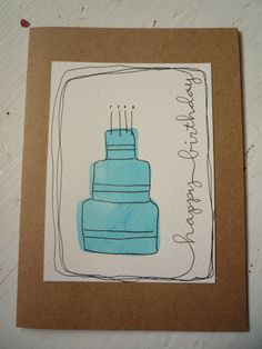 Happy Birthday Card With Original Watercolor & Ink Illustration Birthday Cake…