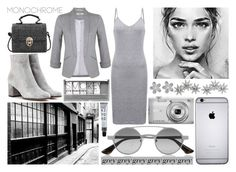 """One Color : Grey!"" by deborahanamariarachelina ❤ liked on Polyvore featuring Apples & Figs, Gianvito Rossi, Prada, Hudson Jeans, Nikon, Boohoo, Miss Selfridge, monochrome, grey and polyvoreeditorial"