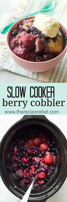This Slow Cooker Berry Cobbler is a super simple dessert packed with strawberries and blueberries (fresh or frozen!) and is perfect for summer or winter!