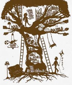 Illustration or paper cut-out?: The girl who built a library in a tree I Love Books, Books To Read, My Books, Little Free Libraries, Free Library, Hermann Hesse, I Love Reading, Lectures, Book Nooks