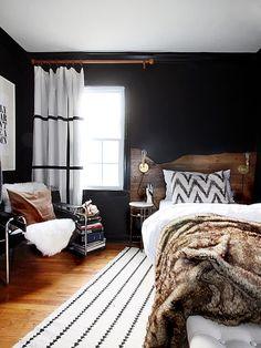 The hunted interior: live edge inspired headboard tutorial black wall decor, white rug, Modern Rustic Bedrooms, Rustic Master Bedroom, Modern Decor, Bedroom Black, White Bedrooms, Masculine Master Bedroom, Trendy Bedroom, Dark Cozy Bedroom, Bedrooms For Men