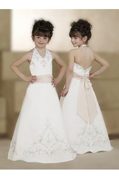 Pretty A-line Satin Flower Girls Dresses, i want this as the flower girl dress in my wedding