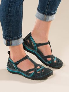 Shop Women's Jambu Charley Sandals. Cute, sporty closed-toe shoes in suede with cooling cutouts, plush padding and grippy rubber soles. Great with shorts, pants, even dresses.