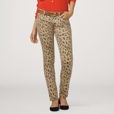 Cheetah Print Stretch Skinny Jean $128.00 in either kaqui (with red, chambray) or red (with off white?)