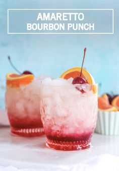 Find the perfect balance between boozy and fruity with this homemade Amaretto Bourbon Punch recipe. Mixed with ginger ale, simple syrup, lime juice and orange juice, this cocktail is the perfect thing to sip on while you grill out on a summer evening. Bourbon Cocktails, Cocktail Drinks, Cocktail Recipes, Drink Recipes, Cocktail Desserts, Party Drinks, Fun Drinks, Alcoholic Drinks, Refreshing Drinks