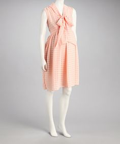 Retro maternity style! With red lips....Peach Georgette Maternity Dress by Bella Lily on #zulily today!