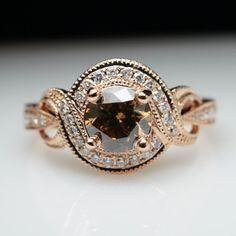 Cognac Brown Diamond Rose Gold Engagement Ring Round Vintage Style Halo Swirl