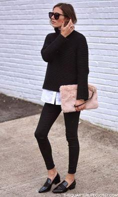 black pullover & white shirt