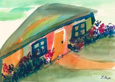 House On A Hill Abstract Painting by Frank Bright - House On A Hill Abstract Fine Art Prints and Posters for Sale fineartamerica.com