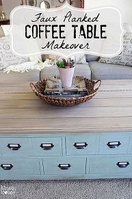 faux planked card catalog coffee table makeover, painted furniture, repurposing upcycling, woodworking projects