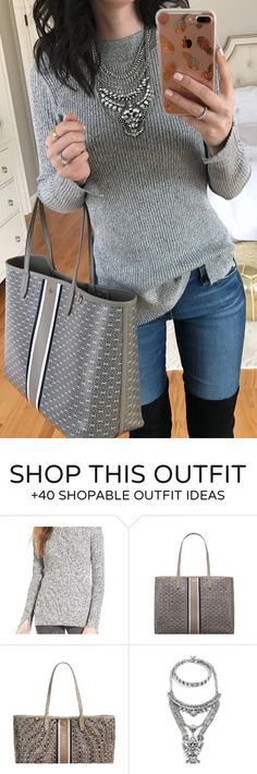 #winter #fashion / Grey Knit / Bleached Skinny Jeans / Black OTK Boots / Grey Tote Bag