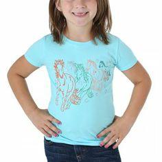 Wrangler Girl's Galloping Horses Short Sleeve T-Shirt