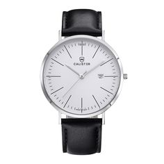 The Bauhaus Silver & White Dial with Leather Strap brings new dimensions of elegance and comfort to Bauhaus design. The large 41mm diameter contrasts the slenderness of the polished stainless steel case. - BAU002 - #calister