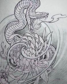 japanese with tattoos Japanese Snake Tattoo, Japanese Tattoo Designs, Japanese Tattoos, Snake Drawing, Snake Art, Tattoo Henna, Dark Tattoo, Tattoo Sketches, Tattoo Drawings