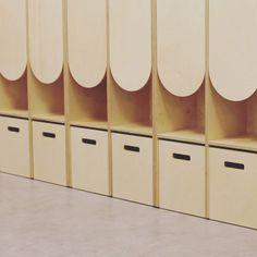 Kinkeli-shelf with new playful doors. Modern Childrens Furniture, House Drawing, Primary School, Scandinavian Design, Shelves, Kindergarten, Inspiration, Doors, Home Decor