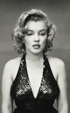 Marilyn Monroe by Richard Avedon | portrait of a movie star | hollywood starlet | iconic actress | sparkle | shine | glitter | sequins | vintage black & white photography | concerned look | blonde bombshell | stunning beauty | curves in all the right places