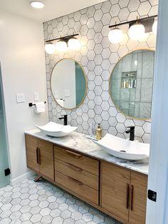 Mid Century Style Bathroom Vanity Cabinet in Walnut Mid Century Modern Bathroom, Modern Bathroom Tile, Bathroom Trends, Bathroom Interior Design, Fully Tiled Bathroom, Master Bathroom Remodel Ideas, Mid Century Bathroom Vanity, Bathroom Ideas, Hexagon Tile Bathroom