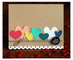Cute heart card with sparkly cardstock