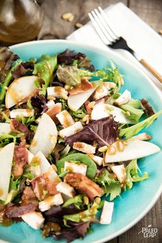 Pear, Bacon, Chicken Salad - Salty bacon and sweet ripe pears combine to make the perfect fall salad, and it's a complete meal all in one bowl. (Paleo, Gluten Free)