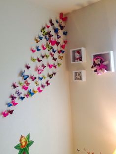 Toddler bedroom decor.. #girlsbedroom ... Wanted to move away from monotonous pink ... And tried colorful butterfly and jungle theme ... came out so well