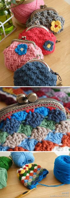 little crocheted coin purses .. I will make one day!!                                                                                                                                                                                 More