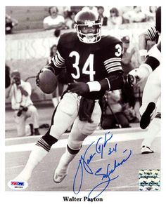 "Walter Payton Autographed 8x10 Photo Chicago Bears """"Sweetness"""" PSA/DNA"