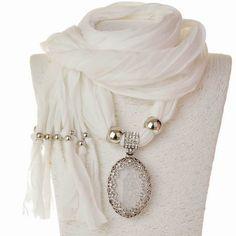 New White Fabric Crystal Flower Tassel Pendant Soft Shawl Scarf Necklace Scarf Necklace, Scarf Jewelry, Boho Jewelry, Handmade Jewelry, Pendant Necklace, Jewellery, Fashion Moda, Womens Fashion, Crystal Flower