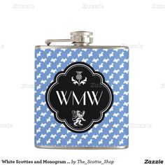 White Scotties and Monogram Personalize Flask